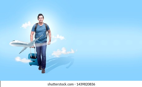 Asian man with suitcase bag and backpack going traveling with airplane. Traveling concept