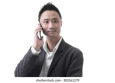 Asian man with telephone in business office concept, isolated on white background