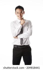 Asian man thinking,confident