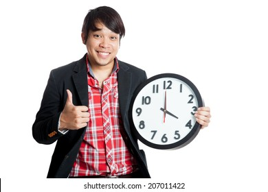 Asian man thumbs up at 4 o'clock  isolated on white background