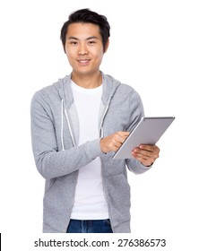 Asian man use of tablet