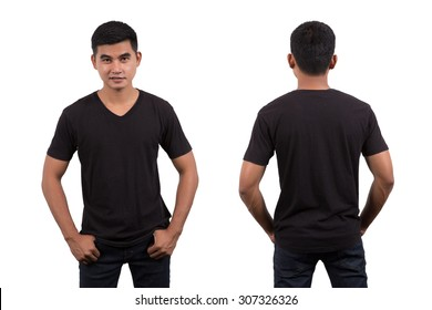Asian man wearing blank black t-shirt isolated on white background