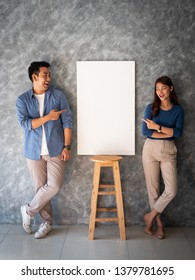 Asian Man and woman couple with white banner copy space