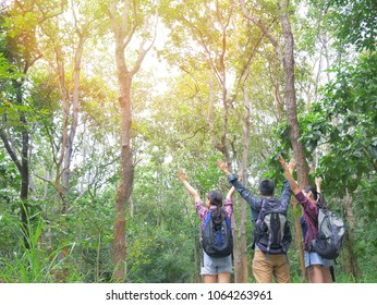 Asian man and woman travel walking and hiking in tropical forest mountain. Friends traveling backpacking in summer activity.