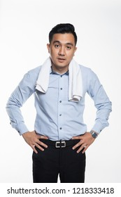Asian man with work attire feeling exhausted and sweaty