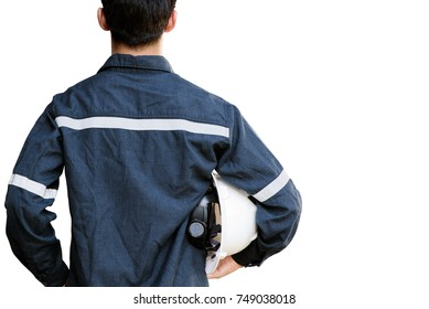 Asian man,Engineer or Technician in white helmet, glasses and blue working shirt suit holding safety helmet, isolated on white, mechanic and Oil and Gas industrial concept with clipping path.