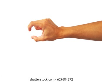 Asian man's hand outstretched to take something.