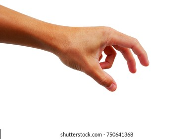 Asian man's hand is reaching out for catch or take and grab something.
