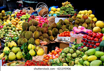 Asian market, exotic fruits