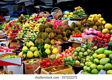 Asian market, exotic fruits, fruit row