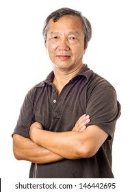 Asian mature man isolated over white background