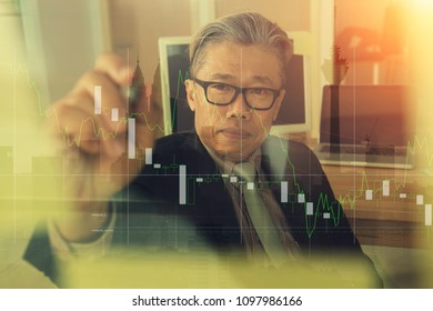 asian matured male with building and finance double exposure theme