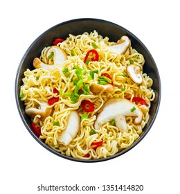 Asian meal made of instant noodles and shiitake mushrooms, traditional oriental food isolated on white background, top view
