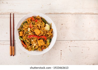 Asian meal on rustic background , top view , place for text. Asian food concept.