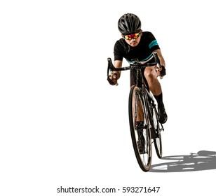 Asian men are cycling. White studio background.