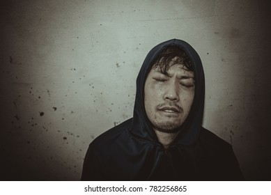 Asian men are drug addicts to inject heroin into their veins themselves.Flukka drug or zombie drug is dangerous life-threatening,Thailand no to drug concept