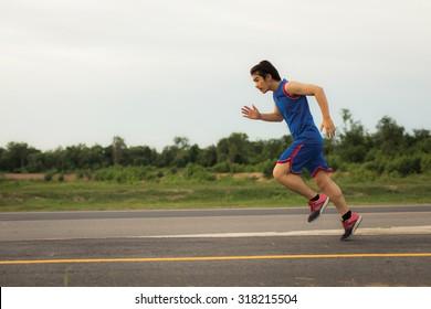 Asian men are jogging run speed