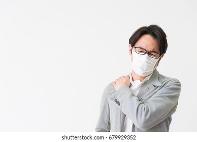 Asian middle age man who wore a mask