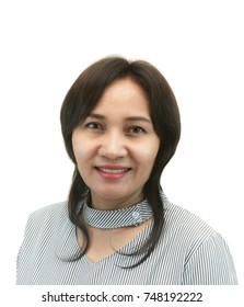 Asian middle-aged woman after retouch, concept of makeup or plastic surgery.