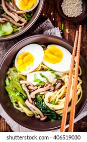 Asian miso ramen noodles with eggs, tofu and shimeji mushrooms
