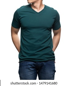 Asian model for green v-neck tshirt blank mockup template in your clothing design.