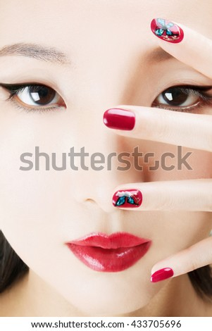 Asian Model Red Manicure Nail Art Stock Photo Edit Now 433705696