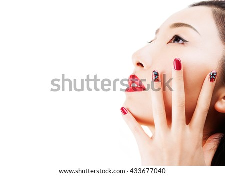Asian Model Red Nail Polish Nail Stock Photo Edit Now 433677040
