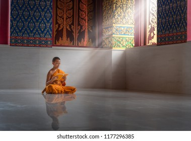 Asian monk novice read a book ,MONK Southeast Asian young Buddhist monk In one of the temples in Thailand.