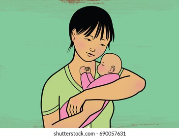 Asian Mother and Baby