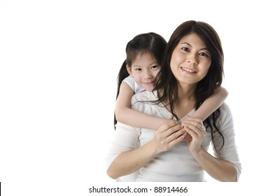 asian mother and daugther with white background
