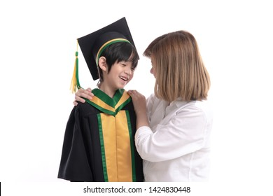 Asian mother embracing her son on white background isolated