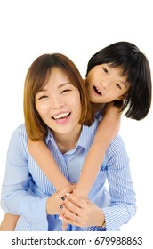 Asian mother and her daughter indoor portrait