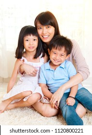 Asian mother and kids