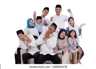 asian muslim family eid mubarak ramadan kareem celebration isolated over white background