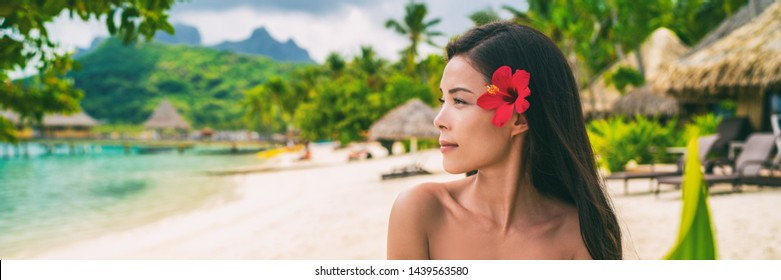 Asian natural beauty woman wellness spa skincare banner panorama on tropical beach background.