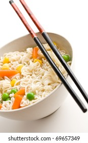 asian noodle soup on white background