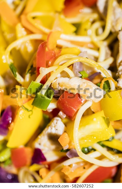 asian noodles with chicken ,close up