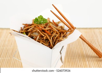 asian noodles for take away with chop sticks