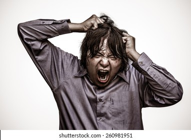 An Asian office guy is stressing to his limit in white background  in heavy grain grunge style