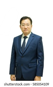 Asian old businessman in dark blue suite , stand with white background