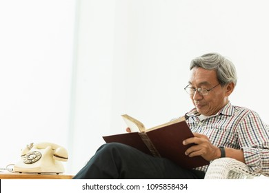 Asian Old man glasses professor sitting on the chair reading textbook with copyspace