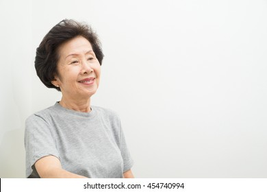 asian old Woman Portrait  with text space, smailing old women