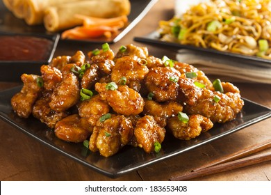 Asian Orange Chicken with Green Onions for Dinner