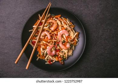 Asian pasta dish with shrimp and sauce