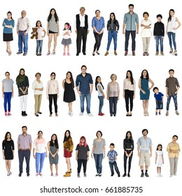 Asian people full body set standing with smiling on background