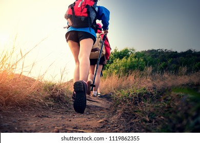 Asian people hiking with tent in the forest and camping during summer at sunset.