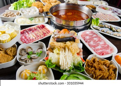 Asian popular cuisine, hot pot soup with wide variety of ingredients.