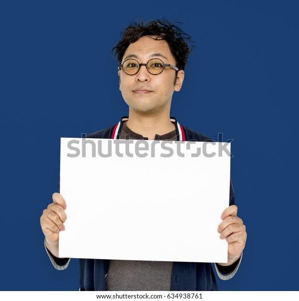 Asian Portrait Holding Blank Paper