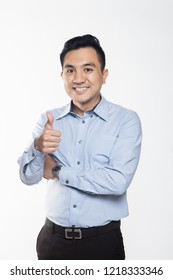 Asian professional man giving thumbs up