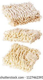 asian ramen instant noodles  of fast preparation isolated on white background Cuisine. Egg noodles.